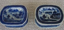 C. 1820 BLUE CANTON PAIR SALT TRENCHERS