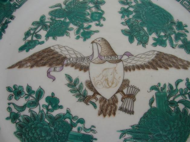 CHINESE EXPORT AMERICAN EAGLE GREEN FITZHUGH PLATE 9 3/4