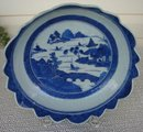 C. 1880 CHINESE EXPORT BLUE CANTON SAW TOOTH LARGE BOWL