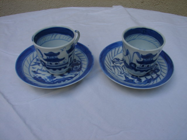 C. 1875 PAIR OF BLUE CANTON CUPS AND SAUCERS