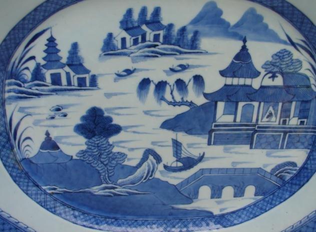 C. 1840-1850 BLUE CANTON PLATTER 17