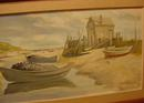 OIL ON BOARD OF MAINE SCENE OF BEACHED DORIES
