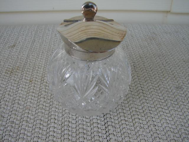 C. 1920 STERLING/CRYSTAL CUT GLASS PITCHER