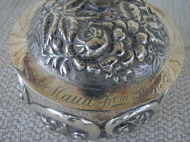 C. 1920 GLASS DRESSING JAR W/STERLING COVER