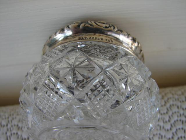 C. 1920 CUT GLASS JAR W/STERLING REPOUSE TOP