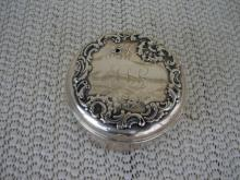 C. 1920 ROUND STERLING BOX W/COVER