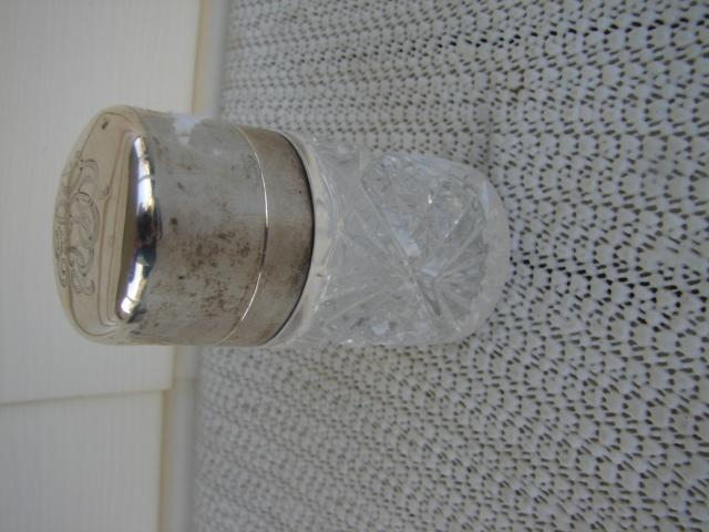 C. 1920 CRYSTAL GLASS MEDICINE BOTTLE/STERLING TOP