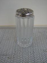 C. 1920 CUT GLASS/STERLING BOTTLE