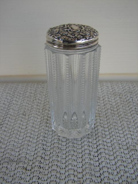 C. 1920 CUT GLASS/STERLING BOTTLE