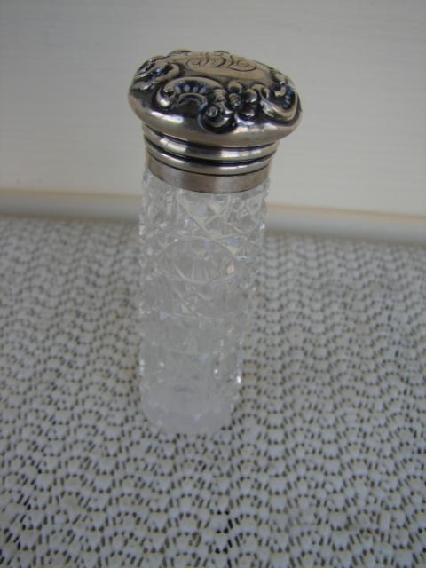 C. 1920 PERFUMER CUT GLASS W/STERLING TOP