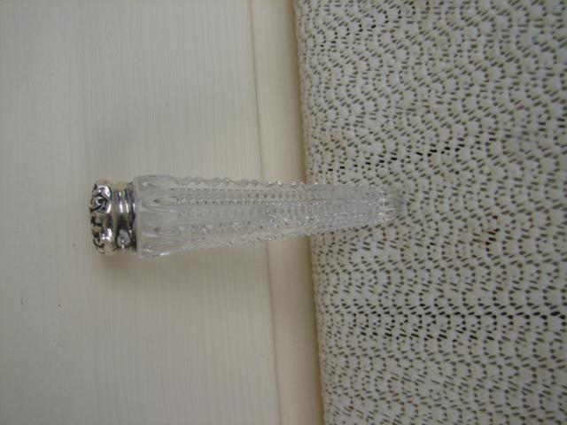 C. 1920 PERFUMER CUT GLASS W/ STERLING TOP