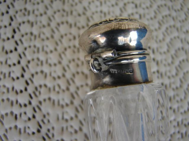C. 1920 CRYSTAL PERFUMER W/STERLING TOP