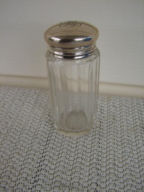 C. 1920 GLASS MEDICINE BOTTLE W/STERLING TOP