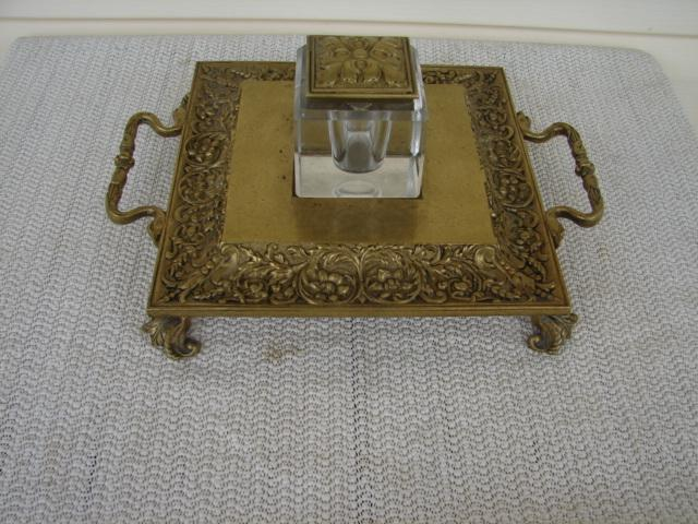 C. 1920 SOLID BRASS/CRYSTAL GLASS INKWELL/STAND