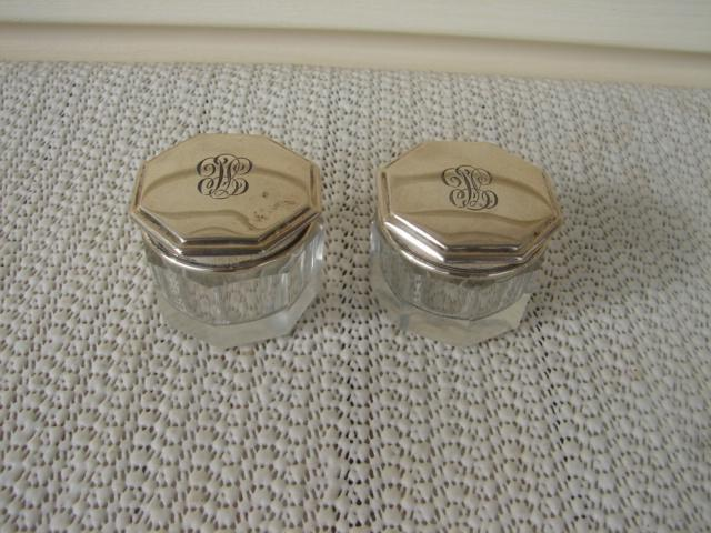 C. 1920 PR. SMALL GLASS DRESSING JARS W/COVERS