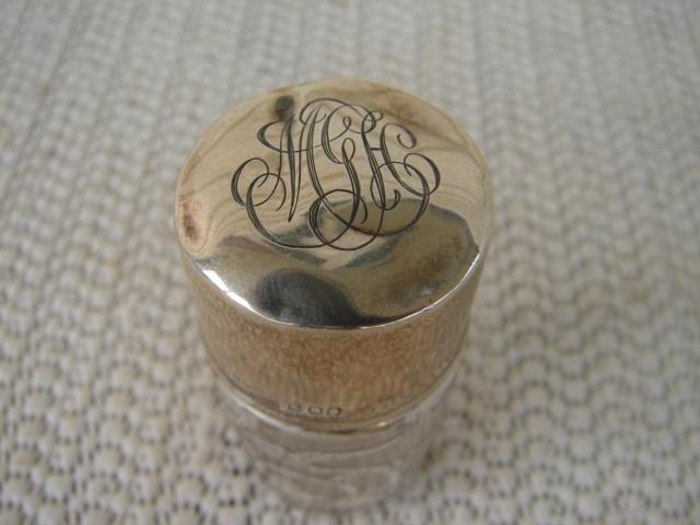 C. 1920 SILVER OVERLAY BOTTLE W/MONOGRAM