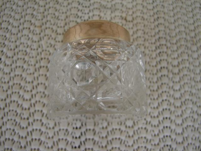 C. 1920 CRYSTAL GLASS JAR W STERLING TOP