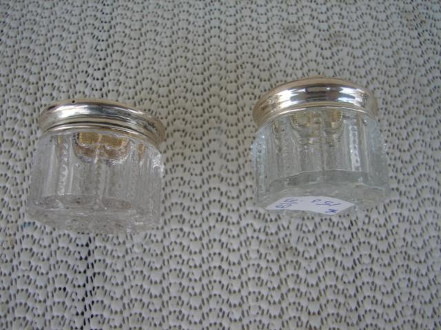 C. 1920 PAIR CRYSTAL GLASS JARS W/TOPS