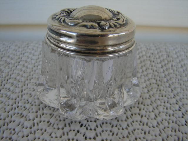 C. 1920 CRYSTAL GLASS  JAR W/STERLING COVER