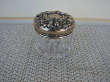C. 1920 CUT GLASS/STERLING SILVER DRESSING JAR