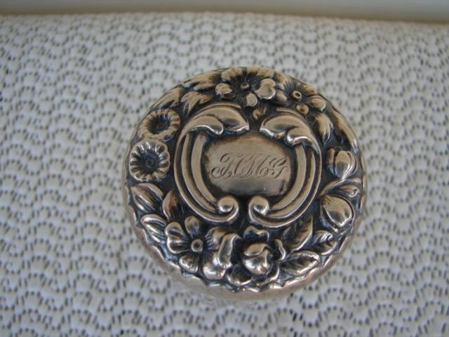 C. 1920 CUT GLASS/STERLING SILVER DRESSING JAR