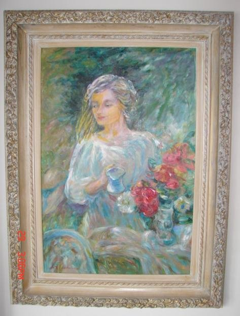 LIFE SIZE PAINTING OF LADY WATERING FLOWERS IN