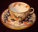 ENGLISH SPODE #977 CUP AND SAUCER W/ARMORIAL
