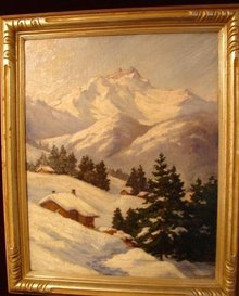 OIL ON BOARD OF SNOW LANDSCAPE BY WHITNEY