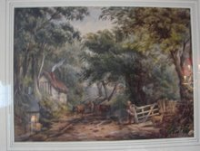 EARLY ENGLISH WATERCOLOR OF A COUNTRY ROAD