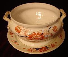 C.1850 ENGLISH IRONSTONE TUREEN WITH UNDERPLATE