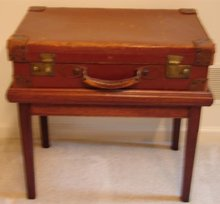 C. 1900 LEATHER SUITCASE W/ CUSTOM STAND