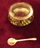 RUSSIAN SILVER/ENAMEL OPEN SALT CELLAR W/ SPOON