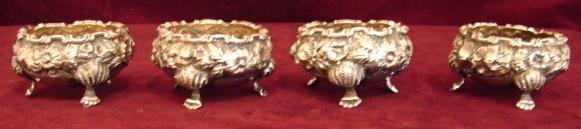 SC. REPOUSSE ROSE SET OF (4) SALTS WITH