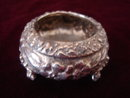 STIEFF OPEN SALT STERLING REPOUSSE W/SPOON