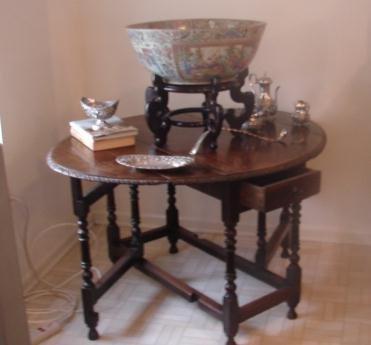 C. 1790 JACOBEAN ENGLISH OAK OVAL TABLE W/TWO
