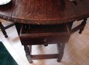 C. 1790 JACOBEAN ENGLISH OAK OVAL TABLE W/TWO