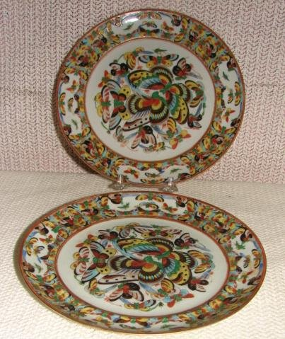 C. 1850 CHINESE EXPORT PAIR 1000 BUTTERFLY PLATES