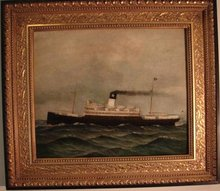 OIL ON CANVAS OF STEAMSHIP BY DAVID TAYLER