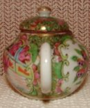 C. 1890 CHINESE EXPORT ROSE MEDALLION MINI TEAPOT