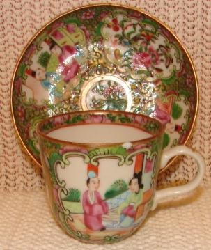 C. 1850 CHINESE EXPORT ROSE MEDALLION DEMITASSE CUP AND SAUCER