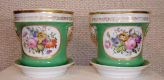 C. 1850 PAIR OF FINE ENGLISH CACHE POTS W/UNDERTRAYS
