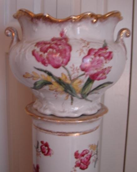 C. 1880 LIMOGE JARDINIERE W/ MATCHING BASE AND STAND
