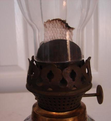19TH CENTURY OIL LAMP CONVERTED INTO 20TH CENTURY ROSE MEDALLION VASE
