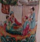 C. 1820 CHINESE EXPORT ROSE MANDARIN BRUSH POT RETICULATED