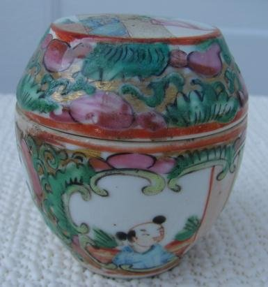 C. 1880 ROSE MEDALLION BARREL SHAPE DRESSING JAR