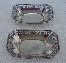 C. 1890 PAIR OF CHINESE SILVER SALTS