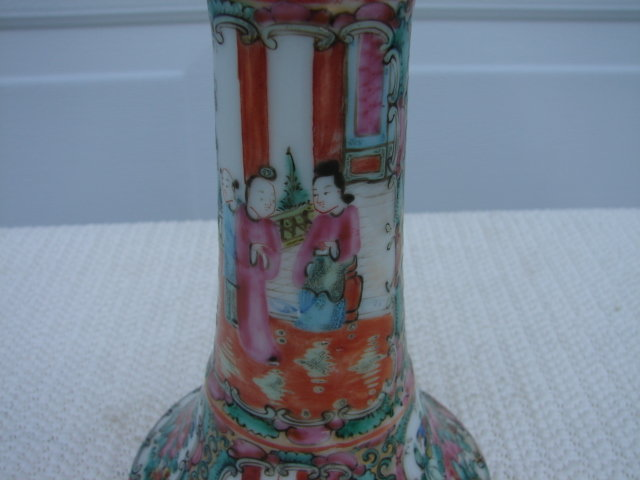 C. 1890 CHINESE EXPORT ROSE MEDALLION CANDLESTICK 7