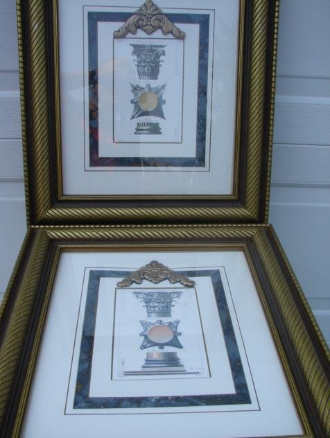 PAIR OF ARCHITECTURAL COLUMNS ENGRAVINGS