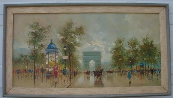 20TH CENTURY A. DEVITT PARIS STREET SCENE PAINTING