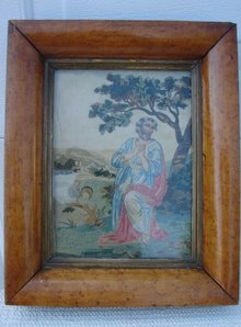 18TH CENTURY SILK  NEEDLEPOINT, PERIOD MAPLE FRAME
